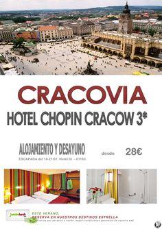 ¡¡Conoce CRACOVIA en estado puro - Hotel Chopin Cracow 3* dsd. 28€ pax/día!! - http://zocotours.com/conoce-cracovia-en-estado-puro-hotel-chopin-cracow-3-dsd-28e-paxdia/