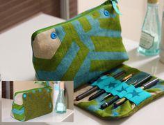 Clever - ein Kosmetiktäschchen mit integrierter Stifterolle, für Kajalstift, Eyeliner... Anleitung im smillaBlog.