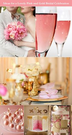 Inspiration board for pink and gold wedding shower, rose gold wedding