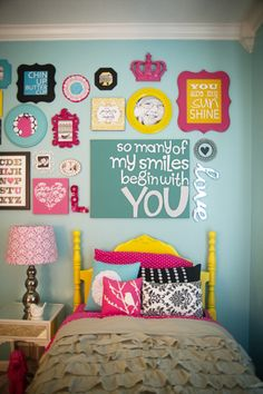 Get wood frames from michaels, and use stencils for quote. Love collage of quotes. Bed frame color, wall color, accent pillows