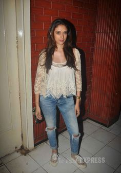 Aditi Rao Hydari was casual in a lace top with ripped denims and sneakers at the screening of 'Kill Dil'. #Bollywood #Fashion #Style #Beauty