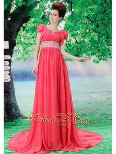 V-neck 2013 Prom Evening Dress With Beading and Ruch In Celebrity fashionos.com