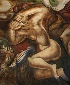 A mural by the Mexican David Alfaro Siqueiros remained hidden for decades in a basement. Mexican Art, Underworld, Fresco, David, Lion Sculpture, Mexico, The Incredibles, Culture, Statue