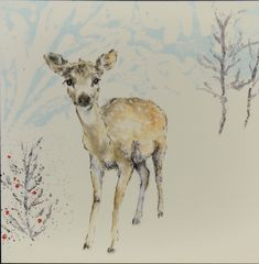 Deer in snow card - White Envelopes, Snowflakes, Deer, Moose Art, Greeting Cards, Texture, Prints, Animals, Snow Flakes