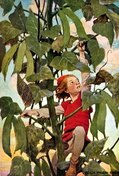 """Jack and the Beanstalk, one story in """"A Child's Book of Stories,"""" 1911 -- illustrated by Jessie Willcox Smith (American 1863 - 1935)"""