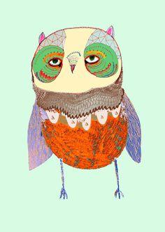 Pretty Baby Owl limited edition owl art print by Ashley Percival - Etsy