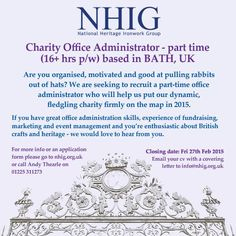 JOB ADVERT: Charity Administrator - Part time role based @Ironart_of_Bath. More info at:http://nhig.org.uk/news/