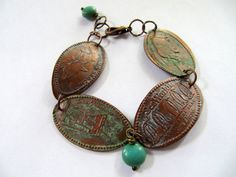 Pressed Copper Penny Charm Bracelet with Aged by SweetDaisyShoppe