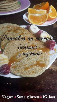 Pancakes au sarrasin {seulement 4 ingrédients, vegan et sans gluten} - My healt. Buckwheat pancakes {only 4 ingredients, vegan and gluten-free} - My healthy sweetness Baked Pancakes, Buckwheat Pancakes, Vegan Pancakes, Buckwheat Gluten, Breakfast Snacks, Healthy Breakfast Recipes, Brunch Recipes, Vegan Recipes, Candida Recipes