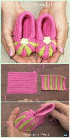 Crochet Baby Booties Neon Trim Crochet Baby Shoes + Free Pattern, Baby Slippers +...