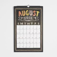 Our classic chalkboard style grid calendar is back with fun pops of color! Features 17 hand-drawn months in chalk style typography with colorful borders and lettering, and large block grids for plenty