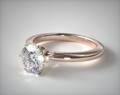 41299 engagement rings, solitaire, 14k rose gold 2mm comfort fit solitaire engagement ring six prong item - Mobile