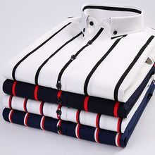 2019 New Summer Men Shirt Cotton Striped Short Sleeve Casual Shirts Button Down Collar Slim Fit Formal Men Outfit, Casual Wear For Men, Stylish Mens Outfits, Formal Shirts For Men, Casual Shirts, Gents Shirts, Mens Designer Shirts, Slim Fit Dress Shirts, Streetwear