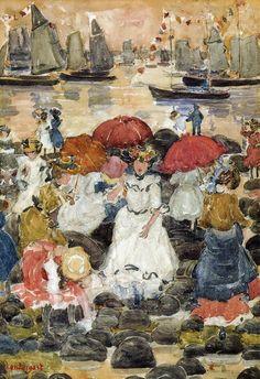 poboh:  Beechmont, Maurice Prendergast. American Impressionist Painter, born in Canada (1858 - 1924)