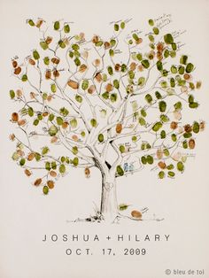 Large Great Oak Design, The original hand-drawn guest book fingerprint tree (ink pads sold separately) via Etsy
