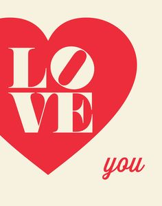 Typography Printable Download Art Love You by TheMotivatedType