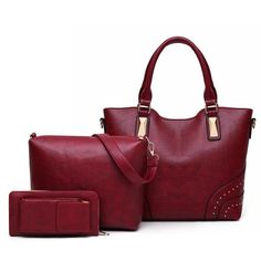 Purchase Women's Simple Three-Piece Solid Color Leather Shoulder Bag from Shenzhen Wanweile Network Tech on OpenSky. Zipper Bags, Shoulder Handbags, Leather Shoulder Bag, Messenger Bag, Crossbody Bag, Womens Fashion, Casual, 3 Piece, Color