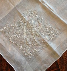 The Old Fashioned Baby Sewing Room: More Sew Sews Show and Tell Embroidery Monogram, Hand Embroidery, Machine Embroidery, Linens And More, Monogram Jewelry, Vintage Handkerchiefs, Crazy Quilting, Heirloom Sewing, Fine Linens