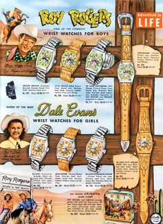 Roy Rogers and Dale Evans wrist watches for boys and girls