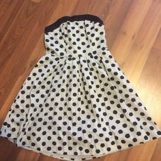 Strapless formal dress Strap less polka dot semi formal dress. Fits great waist line with pockets. Silver and Navy The Limited Dresses Midi