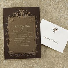 Brown Vintage from Carlson Craft - Item Number: MR5043 - This chocolate brown invitation features a shimmery bronze design with embossed vine scrolling border with your information printed on it. #CarlsonCraft #weddinginvitation