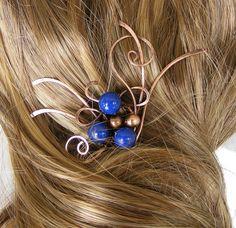 Hair Fork  Hair Stick  Copper Hair Fork with by DebraNicholls, $38.00