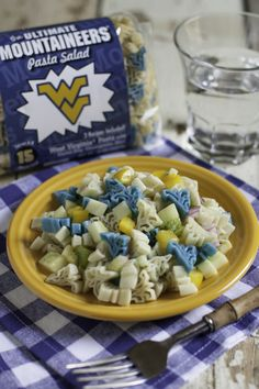 Ultimate West Virginia Mountaineers Pasta Salad - Add peppers, red onion, cucumber, oil and vinegar and our vinaigrette seasoning packet to make this delicious recipe! Yummy Pasta Recipes, Yummy Food, Rice Recipes, Tailgate Food, Tailgating, Pesto Sauce, Food Tasting, How To Make Salad, Creative Food