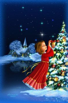 Christmas - Glitter Animations - Snow Animations - Animated images - Page 15 Christmas Scenes, Vintage Christmas Cards, Christmas Images, Christmas Angels, Winter Christmas, Christmas Wishes, Merry Christmas, Gif Noel, Holiday Gif