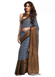 Bhagalpuri Art Silk Light Blue Print Saree With Orange Color Blouse By Aura Sarees on Shimply.com