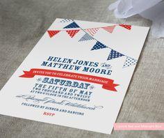 Cute bunting wedding invitation