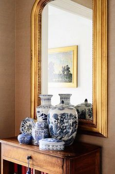 blue & white Chinese pottery & gilded mirror // The Zhush