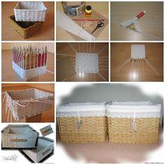 Weaving Basket From Recycled Newspaper  .  Tutorial--> http://wonderfuldiy.com/wonderful-diy-weaving-basket-from-recycled-newspaper/