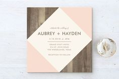 """Something like this with the wood replaced with the kilt pattern """"Modern Barn Wood"""" - Modern, Rustic Wedding Invitations in Rose by Hanna Mac. Wood Wedding Invitations, Wedding Stationery, Wedding Cards, Our Wedding, Wedding Favors, Wedding 2017, Eco Wedding Inspiration, Wedding Ideas, Wedding Advice"""
