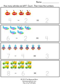 subtraction page 590x807 Preschool Math Ideas for the letter X