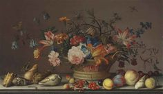 Balthasar van der Ast, Parrot tulips, carnations, columbine, marigolds and other flowers in a woven basket, with shells, peaches, cherries, cranberries, plums, a grasshopper and other insects, on a stone ledge