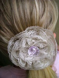 Lace flower hairbow - maybe for Easter?