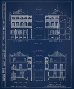 New Orleans French Quarter Block Architectural Drawing Blueprint