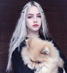 I can't tell who's more fabulous . the girl, or the dog? Aesthetic Makeup, Aesthetic Girl, Pretty People, Beautiful People, Cosplay, Kawaii Girl, Tumblr Girls, Ulzzang Girl, Pretty Face