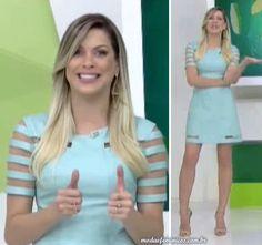 "Look do dai: Vestido verde claro da Renata Fan no ""Jogo Aberto"""