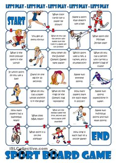 Sport Board Game - English ESL Worksheets for distance learning and physical classrooms Hobbies To Take Up, Hobbies That Make Money, New Hobbies, English Games, English Activities, English Lessons, Learn English, Reading Skills, Activity Games