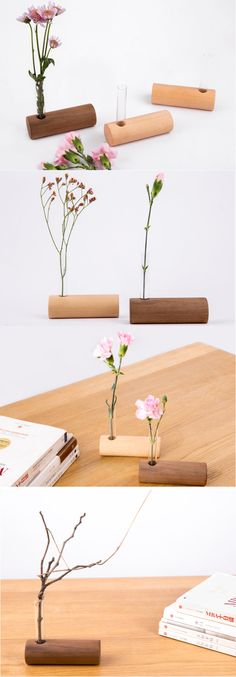 Wooden Base Stand Glass Test Tube Planter Flower Pot Vase,Wood Flowerpot Garden Planter Holder
