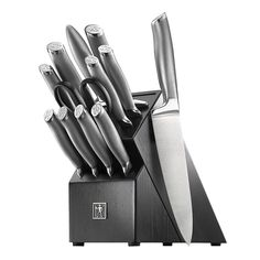 Each knife in the Henckels International Modernist Block Set features a fully forged bolster for sturdy, balanced cutting. Equally ergonomic and stylish, the lightweight, stainless steel handles have an easy-to-grip, sandblasted texture and a polished, logo-embossed stainless end cap that adds aesthetic appeal to your knife block. HI Modernist stands for superb quality at a remarkable value. Kitchen Cutlery, Flatware Set, Kitchen Knives, Kitchen Tools, Kitchen Gadgets, Kitchen Dining, Knife Block Set, Knife Sets, Chef Knife Set