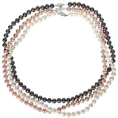 Sterling Silver Dyed Freshwater Cultured Pearl Necklace Set... ($79) ❤ liked on Polyvore featuring jewelry, necklaces, sterling silver jewelry, womens jewellery, black and white necklace, filigree jewelry and sterling silver necklace set