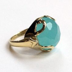 Green jade ring, Gold-tone ring, gemstone ring, stone ring, gemstone ring, brass ring, statement cocktail ring - Queen of Hearts R2316-6