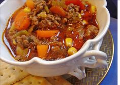 Ground Beef Soup - I add: 1 minced clove garlic, 1 cup chopped cabbage and a can of green beans - drained -  to this recipe. And just for the record, no self-respecting cook would ever use garlic salt - garlic powder, maybe - but never garlic salt! ... just saying, Jo
