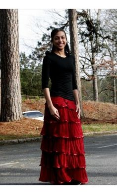 98a317526be63 Long layered tiered skirt Modest Apparel