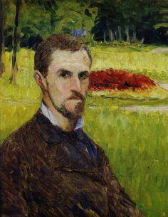 Gustave CAILLEBOTTE «Autoportrait»1875-1877 peinture à huile -extérieur -visage fin -forêt