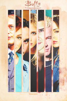 Giles, Willow, Xander, Buffy, Angel, Spike, Faith- Buffy the Vampire Slayer