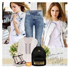 """""""Back to School: New Backpack"""" by bklana ❤ liked on Polyvore featuring H&M, maurices, Miu Miu, Moschino, Hermès and BackToSchool"""