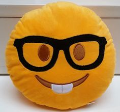 Nerd Geek Eyeglasses Emoji Pillow (US Seller) by PlushEmojiPillows on Etsy https://www.etsy.com/listing/261046763/nerd-geek-eyeglasses-emoji-pillow-us